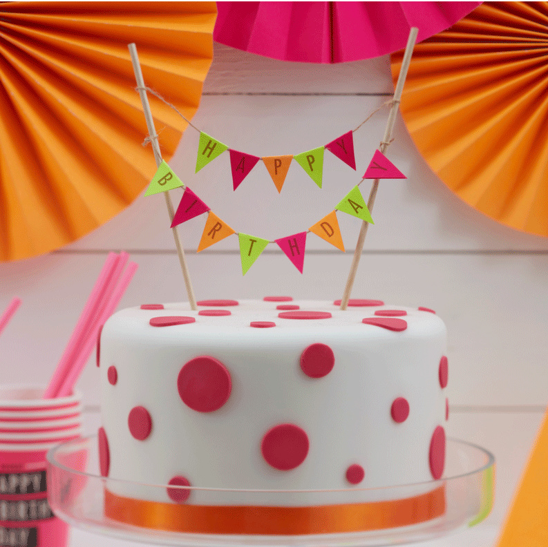 Stupendous Neon Birthday Cake Topper Taarttoppers En Kaarsjes Petit Bandit Birthday Cards Printable Riciscafe Filternl