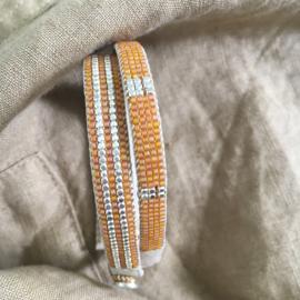 Armband type 'stripes' in oranje met zilver, Ibu Jewels