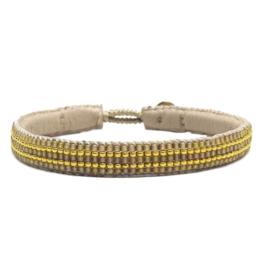 armband type 'stripes' in naturel - goud van ibu jewels