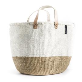 Tote bag van Mifuko in naturel met wit, maat M