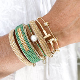 Armband type 'stripes' in naturel - goud, Ibu Jewels