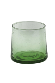 Coneshaped glas, mondgeblazen, traditional groen