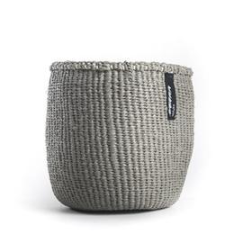 mand van 80% gerecycled plastic met sisal, licht grijs, van Mifuko, maat l