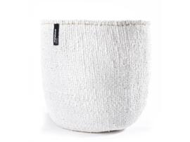 mand van 80% gerecycled plastic met sisal, wit, van Mifuko, maat m