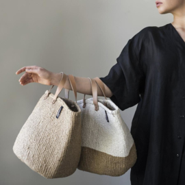 Tote bag van Mifuko in naturel met wit, maat M