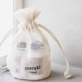 travel-kit van Meraki, 4 flesjes van 50 ml  met shampoo, conditioner, bodywash en lotion
