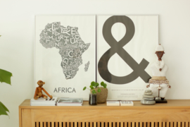poster 'afrika' van kortkartellet, 50 cm x 70 cm, donkergrijs