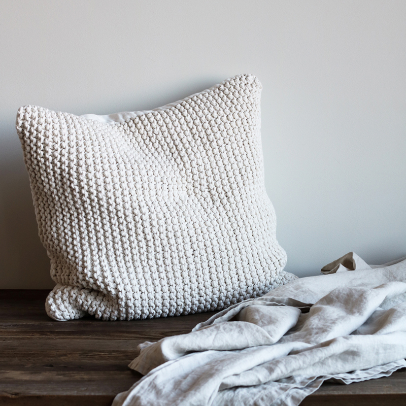 Rope cushion cover in offwhite, 60 x 60 cm