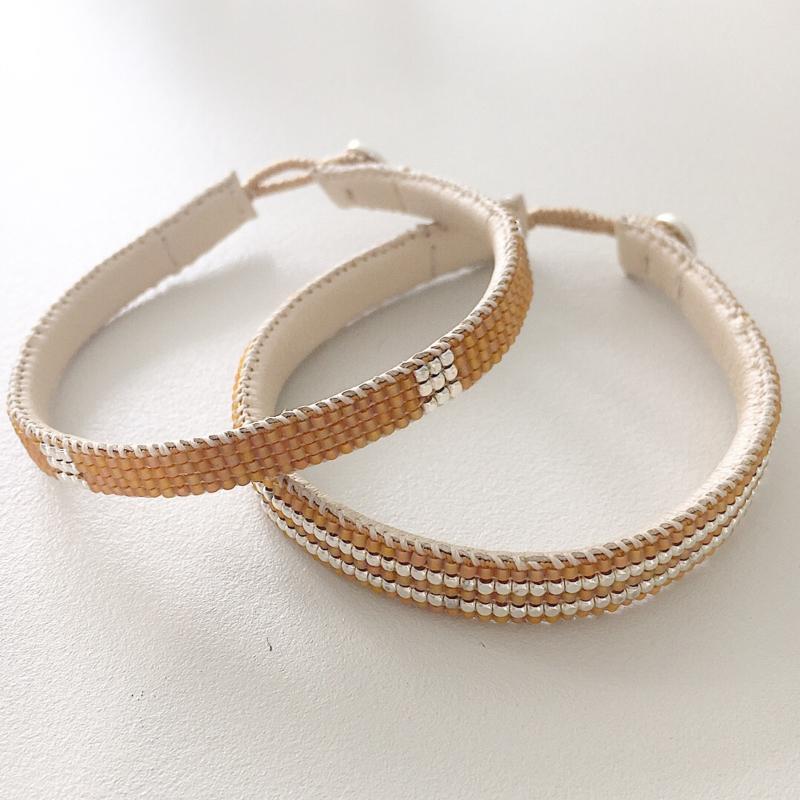 Armband type 'small box' in oranje met zilver, Ibu Jewels