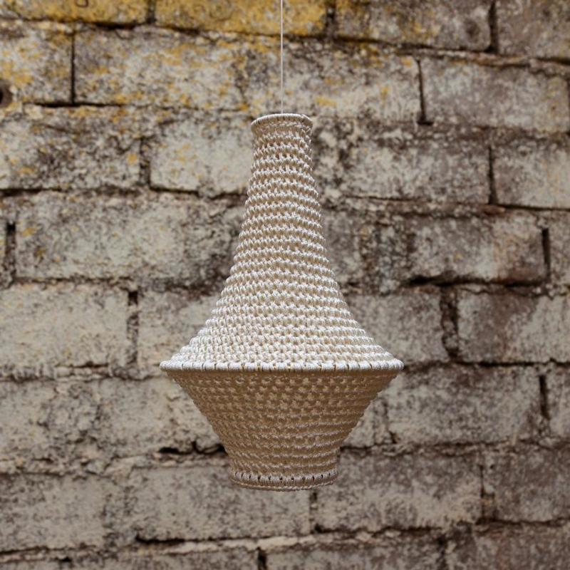 Gehaakte lampenkap Wahad, small in beige