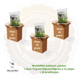 WandelWol Jubileum-Pakket: 1 ds 10 gram 1 ds 20 gram 1ds 40 gram + 20 proefzakjes