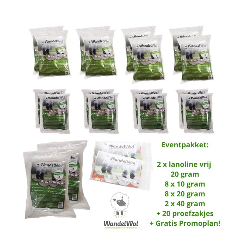 Event-Pakket: 8x10 gr+ 8x20gr+ 2x40gr + 2x lanolinevrij+ 20 proefzakjes