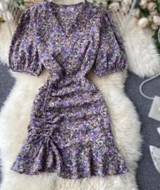 Dulcia Bloemenprint jurkje paars