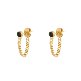 Black Stone Chain Earring