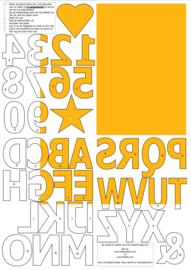 vilten cijfers en letters voor op de vlaggenslinger, geel