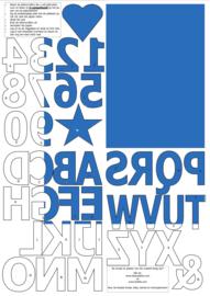 vilten cijfers en letters voor op de vlaggenslinger, blauw