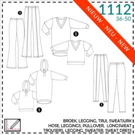 1112, broek + legging + truien + sweatjurken