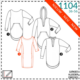 1104, jurken: 1 - makkelijk / 2 - beetje ervaring
