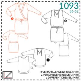 1093, Kleid mit Wickeloptik: 1 - einfach