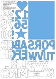 vilten cijfers en letters voor op de vlaggenslinger, lichtblauw