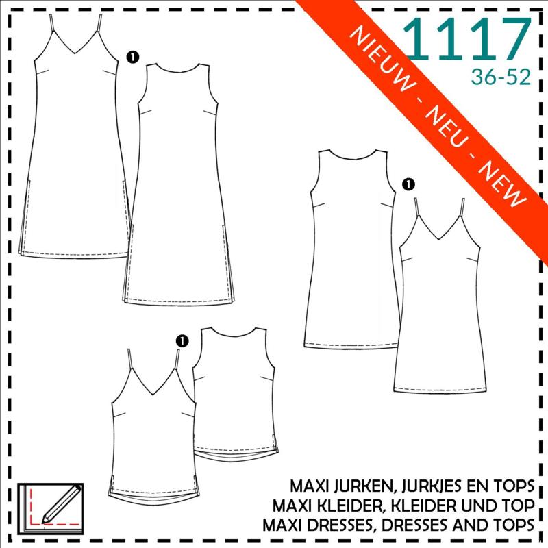 1117, maxi jurken, jurkjes en  tops: 1 - makkelijk