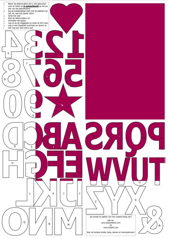 vilten cijfers en letters voor op de vlaggenslinger, fuchsia