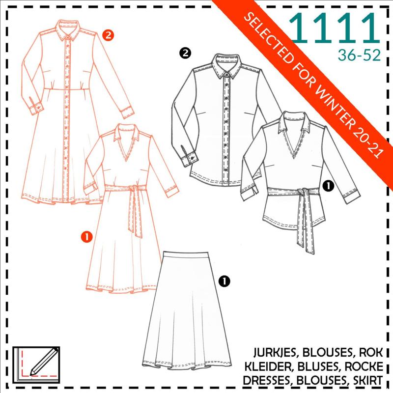 1111, jurken: 1 - makkelijk / 2 - beetje ervaring