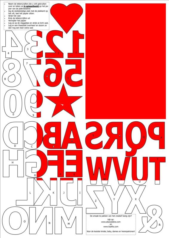 vilten cijfers en letters voor op de vlaggenslinger, rood