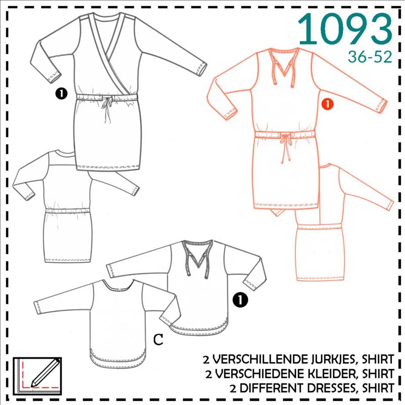 1093, T-shirt jurk: 1 - makkelijk