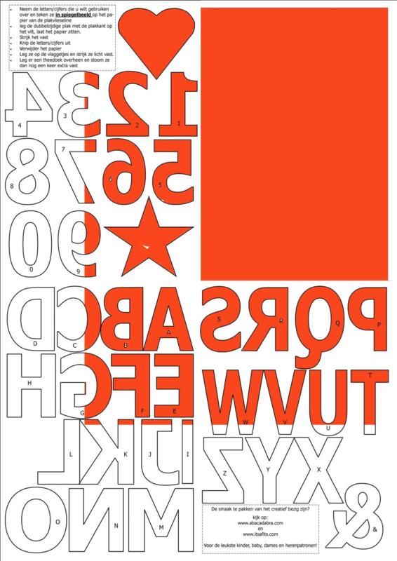 vilten cijfers en letters voor op de vlaggenslinger, oranje