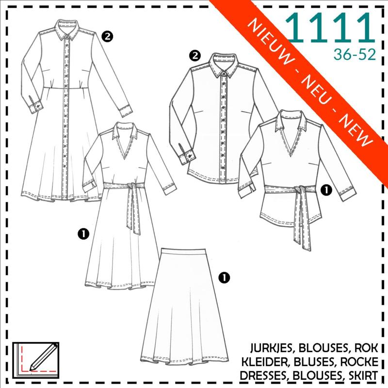 1111, blouse + jurken + shirt