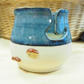 Yarn Bowl - Blue Mushroom