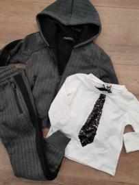 jongensshirt met stropdas Wit