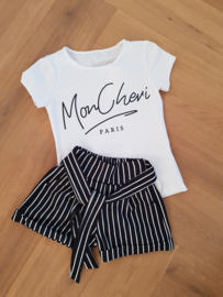 2-delig setje Striped short + shirt Mon Cheri in WIT !