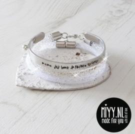 Set van 3: tekstarmband, crystal diamant armband, diamant armband  (white)
