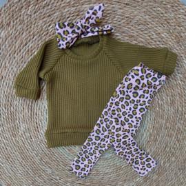 Meisjessetje Khaki Leopard