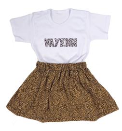 Setje | Leopard rokje + shirtje met naam