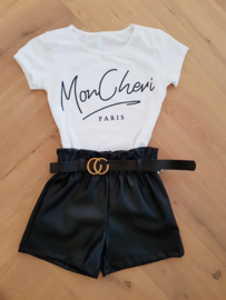 Leatherlook short met riem