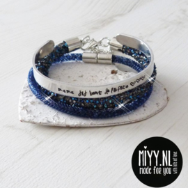 Set van 3: tekstarmband, crystal diamant armband, diamant armband (blue)