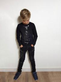 Jongensshirt met stropdas zwart