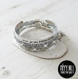 Set van 3: tekstarmband, crystal diamant armband, diamant armband (silver)