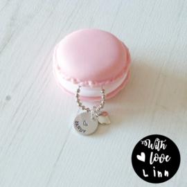 Armband Girls Macaron pink (met eigen naam)