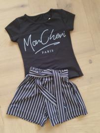 2-delig setje Mon Cheri zwart shirt/gestreept broekje zwart-wit
