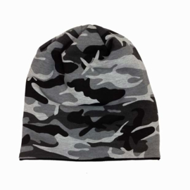 "Beanie Slouchy ""Black Camo Reversible"""