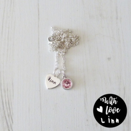 Girls ketting It's my name svarovski pink