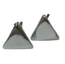 Stud oorbellen driehoekje, ZILVER, incl. kaartje