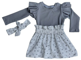 Setje meisje ruffle  shirtje + rokje leafs grey