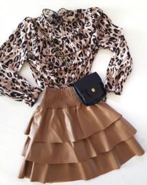 Blouse Ruffle Leopard Beige