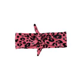 Haarband leopard donker roze