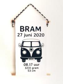 Muurhanger VW busje met naam